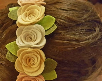Headband with felt flowers