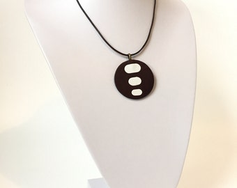 YAGO Dark Brown and White Leather Necklace Pendant