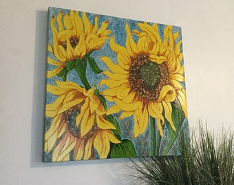 Sunshine Summer Sunflower Faux Vitrail Painting|Pebeo's Vitrail Colours|24x24 Canvas|Artist signed, Sunflowers, Nature Inspired