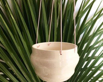 Handmade hanging planter in white speckled clay