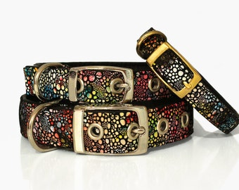 Soft Genuine Leather Dog Collar Multicolor Pattern Handmade