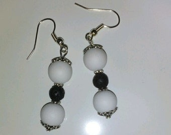 Black and white lava beads earrings fashion jewelry