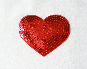 1x sequins red glitter purple shiny heart patch love burlesque Iron On Embroidered Applique