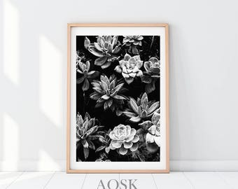 Succulent Wall Print, Black and White Succulents Print, Succulent Leaves, Plant Art Printable, Plant Print Wall Art, Succulent Poster