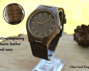 Husband Gift, Gifts for Him, Mens Personalized Leather Watch, Engraved Wood Watches for Men Birthday Gift Wife to Husband, Anniversary Gifts