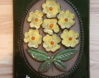 Lovely floral wall plaque // Ceramic from Sweden // Jie Gantofta Sweden // Vintage