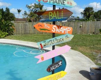 Destination Signs with patio stand, Destination pole, Directional pole, Cruise ports, Custom mileage sign, mile marker sign
