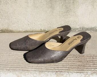 Vintage Grey Faux Snakeskin Low Heel Slides 6.5
