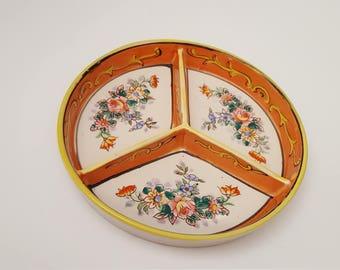 Antique Moriyama Pottery Three Section Divided Dish
