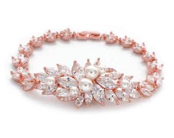 Rose gold bracelet, bridal jewelry, crystal bridal bracelet, wedding jewelry, bridesmaid bracelet, Swarovski pearl bracelet, cz bracelet