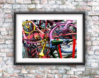 Colorful bicycles, bikes, printable art, digital photo, wall decor, digital download, downloadable art, instant download, photo download,