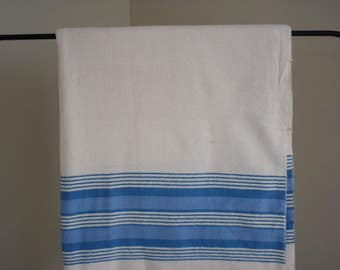 VINTAGE TEXMADE-IBEX Flannel Sheet - Blue and Off White Stripe