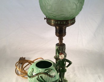 Vintage Jack And the Beanstalk Brain Glass Lamp Elf Collector L. BATLIN & SON INC.