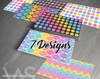 7 Rainbow Designs Card Set - dark gray white rainbow Consultant side back front