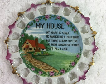 """Vintage My House Decorative Plate / 7"""" across / home poem in center / white border accented with purple/pink and metallic gold / house scene"""