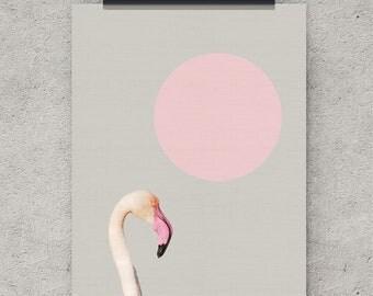 Flamingo print, Wall Art Print, Tropical Bird, Tropical Wall Art, Pink, Large Poster, Instant Digital Download, Modern Wall Art, Printable
