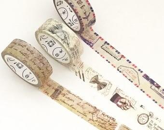 Retro Postage Washi Tape - Airmail / Hand / Script (1 pc / 3 pcs) Japanese Stationery Cute Masking Tape Set Deco Tape