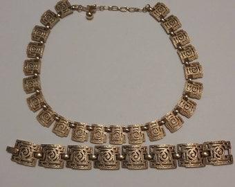 Trifari Gold Tone Choker and Bracelet