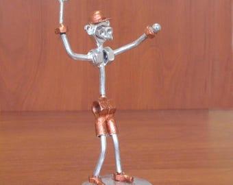 "Beautiful Hand-Made Metallic ""Tennis Player"" Figurine"