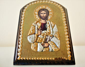 Christ Icon. Jesus icon. Handmade icon. Ecclesiastical icon. Pantocrator. Greek Orthodox icon. Byzantine Icon Byzantine Art Handcrafted icon