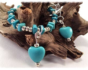 Turquoise anklet, silver anklet, beach anklet, bohemian style, tuquoise hearts, gemstone anklet, beaded anklet, chunky anklet, howlite
