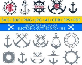 Anchor Svg Anchor Monogram Frames Svg Anchor Frames Svg Anchors Svg Cut Files Silhouette Studio Cricut Svg Dxf Jpg Png Eps Pdf Ai Cdr