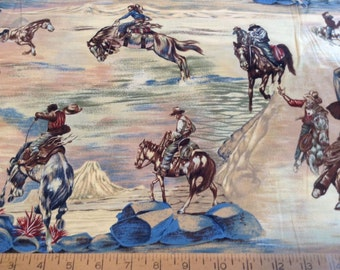 Western cowboys and horses  cotton fabric by the yard