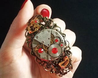 Steampunk bracelet with watch movement and rhinestones