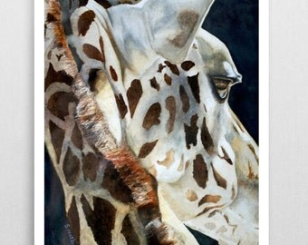 Giraffe Painting Giraffe Art Giraffe Watercolor Giraffe Poster Animal Art Kid's Wall Decor Giraffe Fine Art