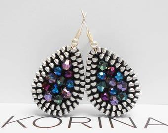 Teardrop Zipper Earrings - Small Earrings - Elegant Earrings - Colorful Earrings - Zipper Jewelry - Glass Bead Jewelry
