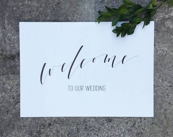 Modern White Wedding Sign. Welcome To Our Welcome Signage. Minimalist Wedding. Luxe White and Gold Wedding Sign. Bridal Shower. Engagement.