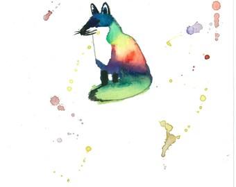 8 X 10 Fox Watercolor Art | Endangered Species | Wall Decor | Original Art Print | Rainbow Watercolor Painting | Baby Room Wall Art