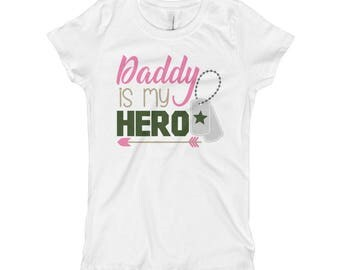 My Daddy is My Hero - Girls Army Shirt - Girls Army Baby Outfit - Army Kid -  Army Daughter -  Military Shirt - Military Baby - Military Kid