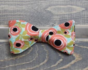 Coral Floral Bow Tie - Self Tie Bow Tie - Mens Bow Tie - Mens Formalwear
