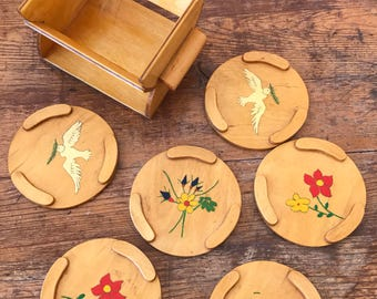 Set of 6 coasters in a box handpainted with flowers and doves retro