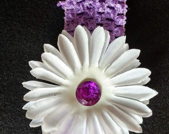 White flower purple infant headband