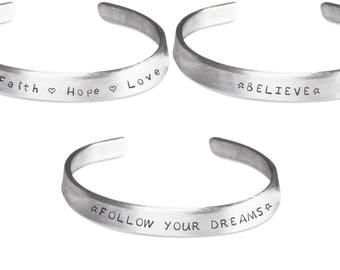 Inspirational Bracelets - Hand Stamped Bracelet - Set of 3