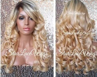 Long Curly Golden Blonde Lace Front Wig - Human Hair Blend - Layers - Bangs - Dark Roots - Swiss Lace - Heat Resistant Safe