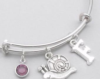 Snail monogram charm bracelet | snail bangle | personalised snail bracelet | snail jewelry | snail gift
