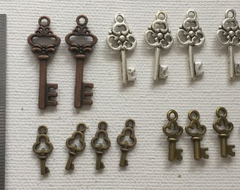 14 small key charms