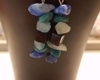 Teal and Blue fishhook Earrings