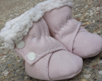 Baby Booties ~ Baby or Toddler Uggies / Ugg Boots ~ Baby Pink ~ Sherpa backed Faux Suede ~ fabric booties