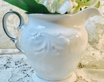 Vintage Creamer in Platina by Walbrzych - White and Platinum - Made In Poland