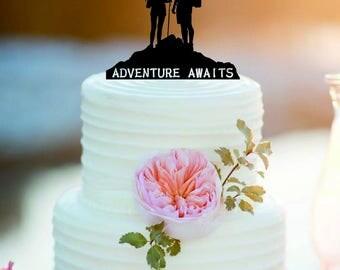Customized Adventure Wedding Cake Topper /Personlized Bride And Groom Cake Topper/Adventure awaits cake topper/Our adventure party