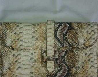 Leather Snakeskin print clutch