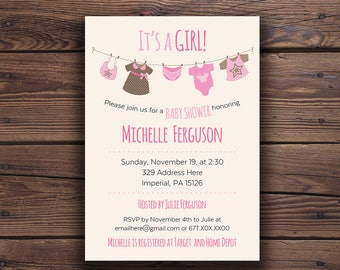 Baby shower invitation, pink baby shower, baby shower invitations, rustic invitations, it's a girl, digital invitation, printable invite