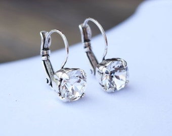 8mm Swarovski Crystal Leverback Earrings - Crystal - FREE SHIPPING