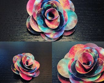 Set of 6 Supernova Galaxy Space Cassiopeia Cardstock Roses Handmade Paper Flowers 2 1/2 Inches for Bouquets Scrapbooking Decor