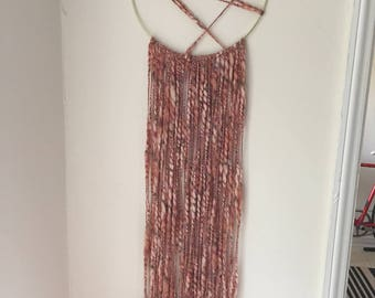 Dusty Rose Blush Woven Macrame Wall Hanging W/Gold Ring