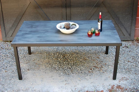 Zinc Top Dining Table Outdoor Table Industrial Zinc Dining